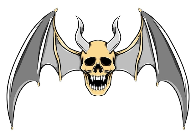 Illustration of scary illustration of dead skull with long horns and bat wings