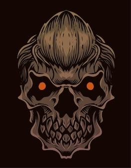 黒い表面のイラスト怖い頭蓋骨の頭