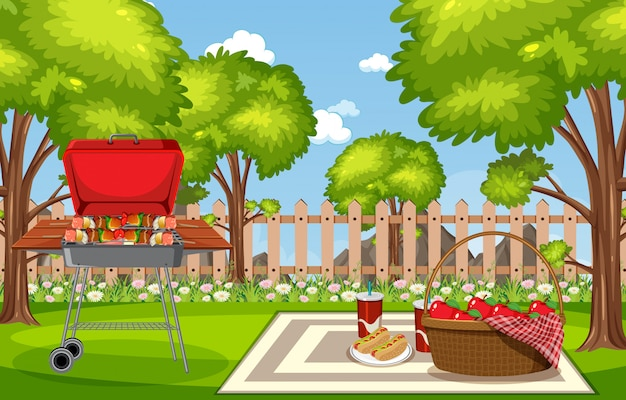 Illustration of scene with bbq in the park