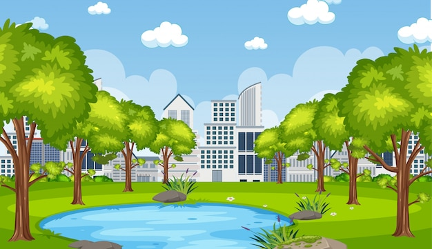 Illustration of scene with city builsing and pond in the park