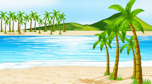Illustration scene with coconut trees on the beach