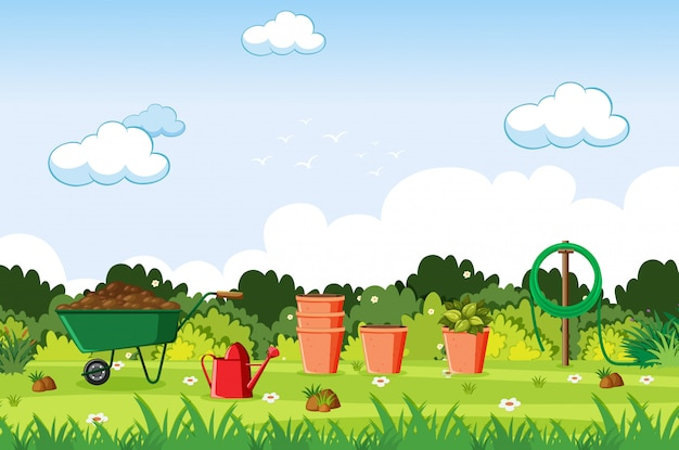 Illustration of scene with gardening tools on the lawn