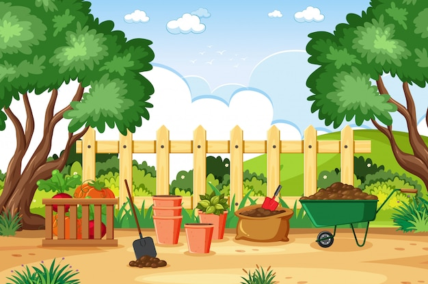Illustration of scene with gardening tools in the park