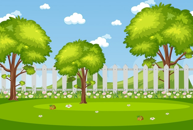 Illustration of scene with green trees in the park