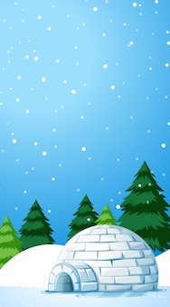 Illustration scene with igloo on snow field