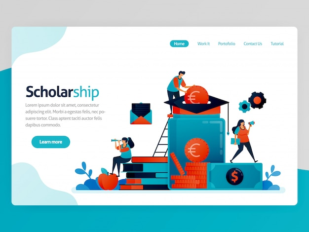 Illustration for scholarship landing page. scholarship program for outstanding students. donation and education savings. funding assistance for study
