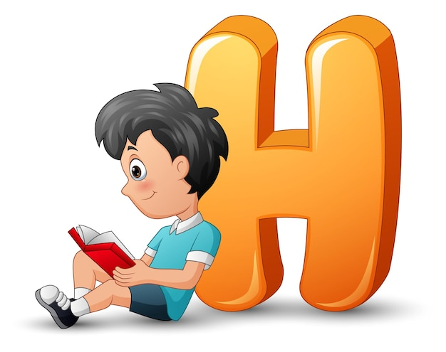 Illustration of school boy leaning against a letter h