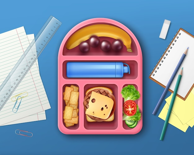 Illustration of school lunch box with fruits