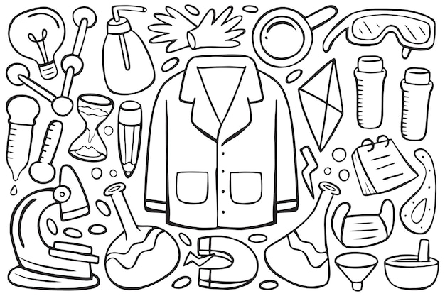 Illustration of science doodle in cartoon style