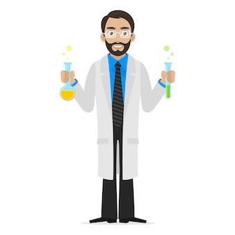 イラスト科学者は化学物質を試験管に保管し、eps10をフォーマットします
