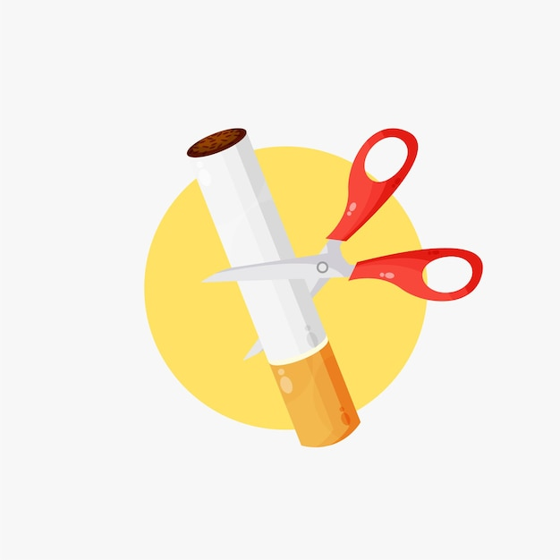 Illustration of scissors cutting a cigarette