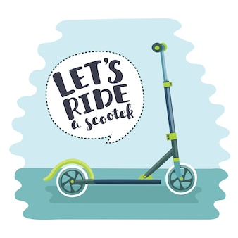 Illustration of scooter and lettering