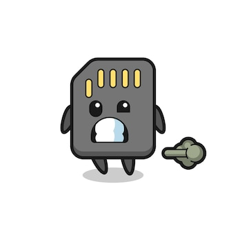 The illustration of the sd card cartoon doing fart , cute style design for t shirt, sticker, logo element