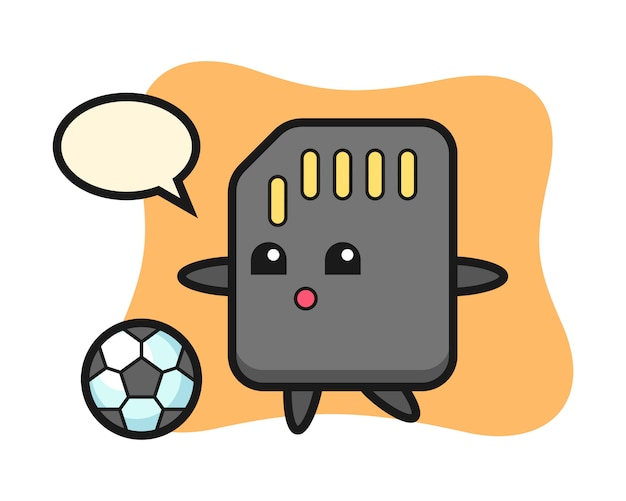 Illustration of sd card cartoon is playing soccer, cute style design for t shirt
