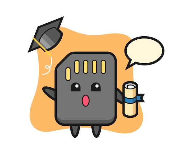 Illustration of sd card cartoon throwing the hat at graduation, cute style design for t shirt
