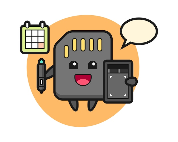 Illustration of sd card mascot as a graphic designer, cute style design for t shirt