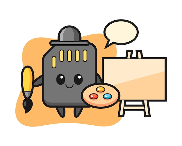 Illustration of sd card mascot as a painter, cute style design for t shirt