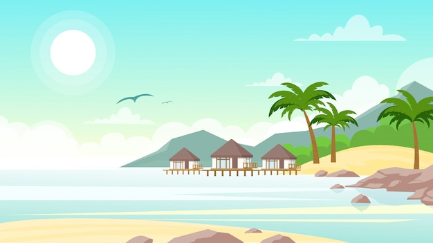 Illustration of sea beach with hotel. beautiful small villas on the ocean seaside. summer landscape, vacation concept in flat style.