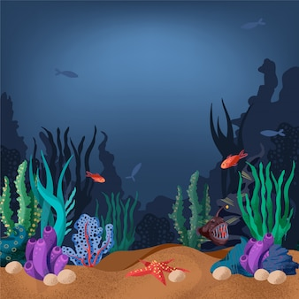 Illustration of the seabed with  fish and marine plants.