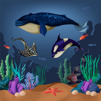 Illustration of the seabed with whale, fish and marine plants.