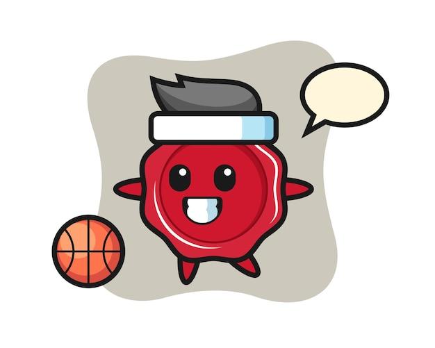 Illustration of sealing wax cartoon is playing basketball