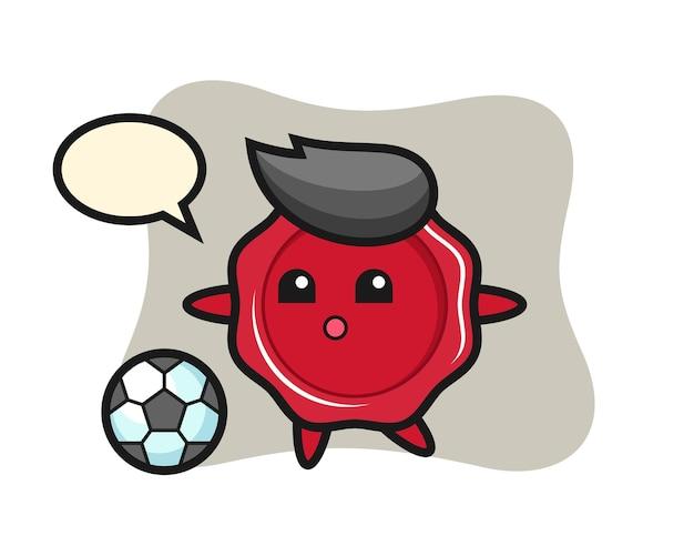 Illustration of sealing wax cartoon is playing soccer