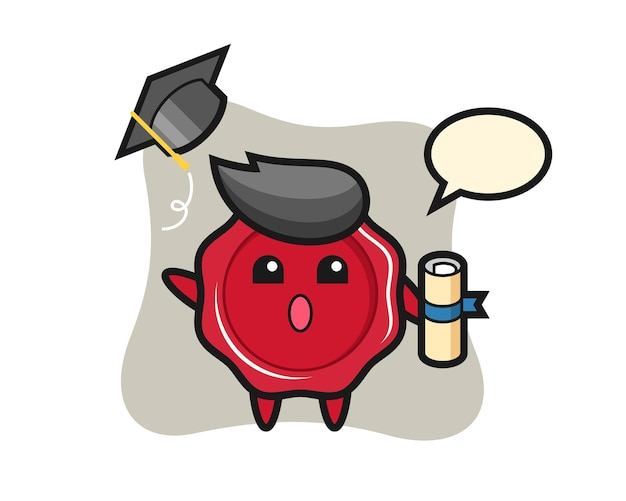 Illustration of sealing wax cartoon throwing the hat at graduation