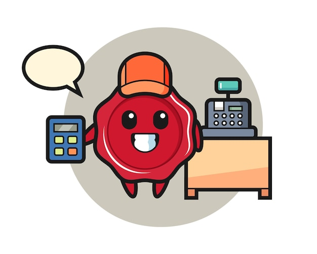 Illustration of sealing wax character as a cashier