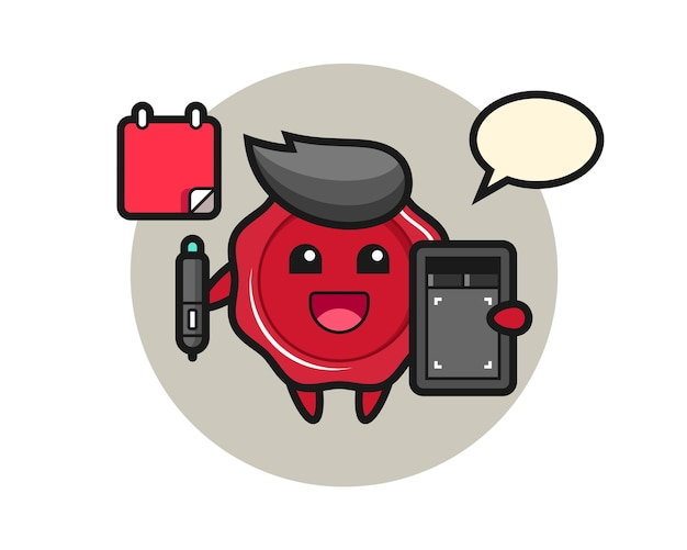Illustration of sealing wax mascot as a graphic designer