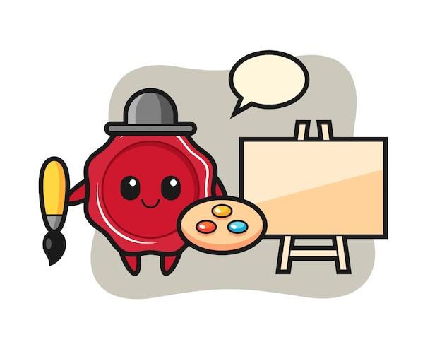 Illustration of sealing wax mascot as a painter