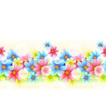 イラストシームレスな美しい花のボーダーは白で隔離
