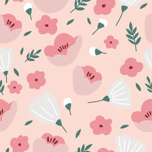 Illustration seamless floral pattern. flowers background for cosmetics packaging. Premium Vector