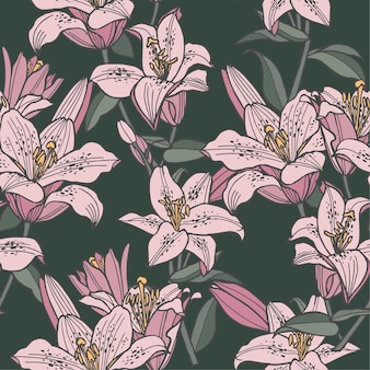 Illustration seamless floral pattern. lily flowers background for cosmetics packaging.