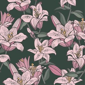 그림 완벽 한 꽃 패턴입니다. 화장품 포장을위한 백합 꽃 배경입니다.