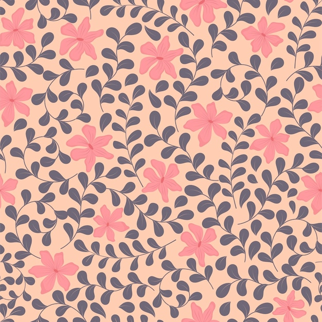 Illustration of a seamless floral pattern with curved twigs, leaves and delicate flowers.
