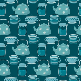 Illustration seamless pattern. cute doodle tea and coffee cups, teapot and glass jar.