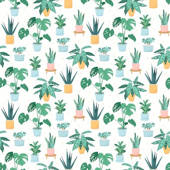 Illustration of a seamless pattern of trendy house plants in pots