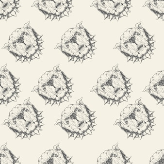 Illustration seamless pattern with bulldog