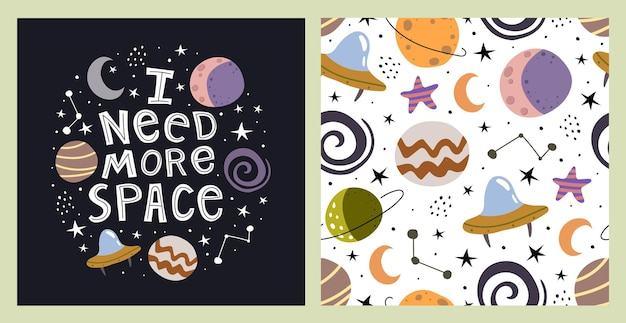 Illustration and seamless pattern with cartoon planets