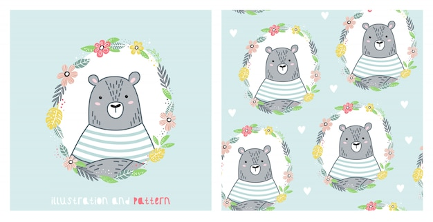 Illustration and seamless pattern with cute bear