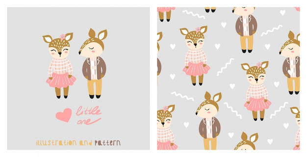 Illustration and seamless pattern with cute chipmunk.