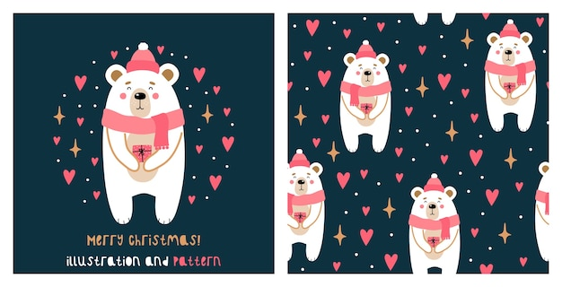 Illustration and seamless pattern with cute chritmas bear.