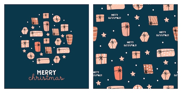 Illustration and seamless pattern with cute chritmas gifts. 2021