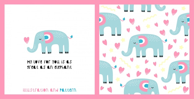 Illustration and seamless pattern with cute elephant