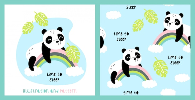 Illustration and seamless pattern with cute panda