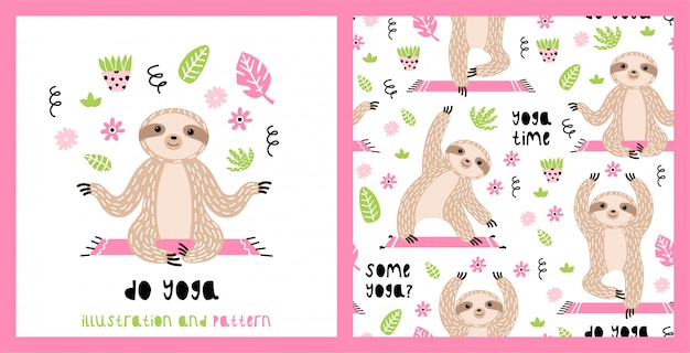 Illustration and seamless pattern with cute sloths