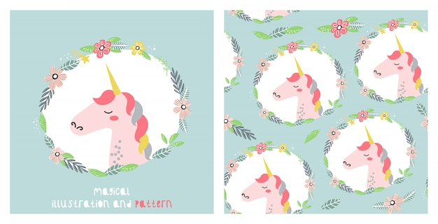 Illustration and seamless pattern with cute unicorn