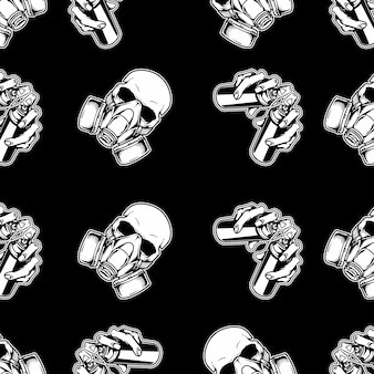 Illustration seamless pattern with graffiti ,skull respiration and hand holding spray paint