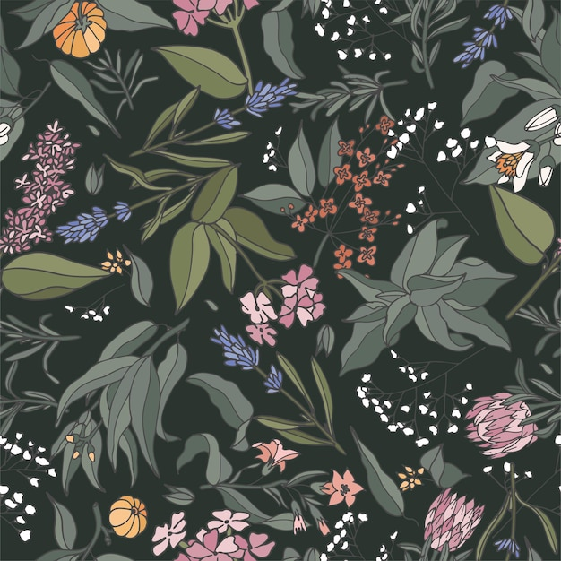 Illustration seamless pattern with plants, herbs and flowers.