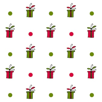 Illustration of seamless pattern with present boxes and circles